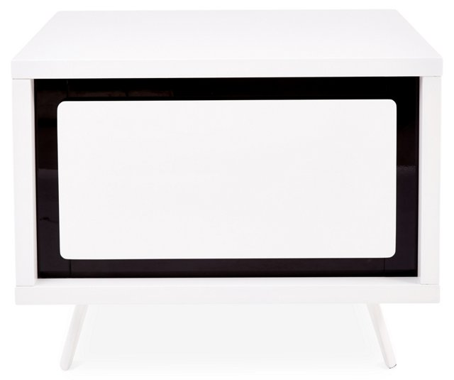 Hal Low Nightstand, White/Black
