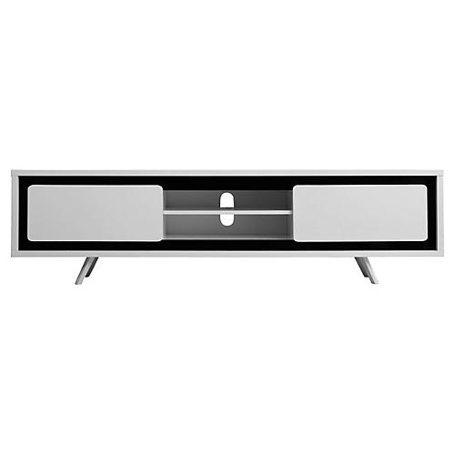 Hal Large TV Stand, White/Black