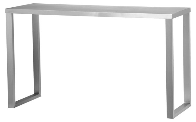 "Clark 29.5"" Console Brushed Metal"