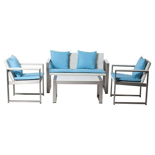 Chester Lounge Set, White/Blue