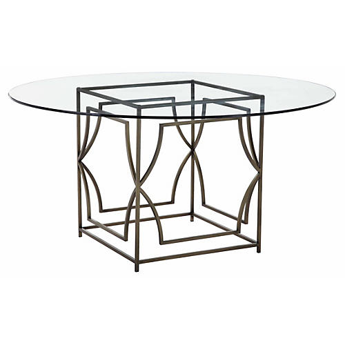 """Edward 60"""" Round Dining Table, Glass/Brass"""