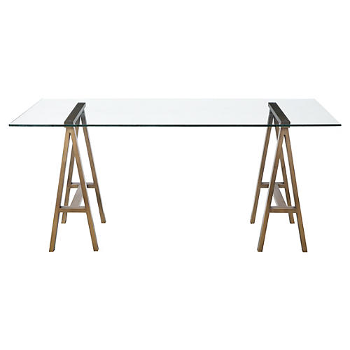 Brady Desk, Brushed Brass