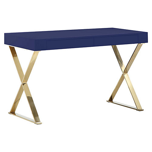 X-Leg Desk, Navy/Gold