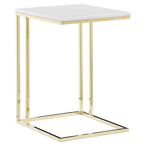 Fred Tray Table, White/Gold