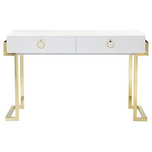 Julia Stainless Steel Desk, White