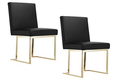 Black Dexter Side Chairs, Pair