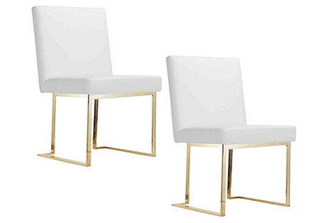 White Dexter Side Chairs, Pair