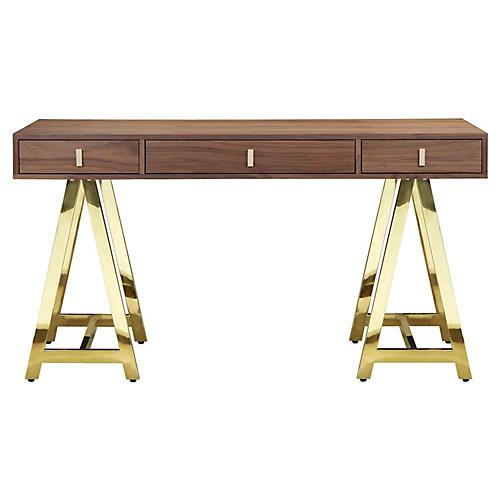 Gold Riley Desk, Walnut