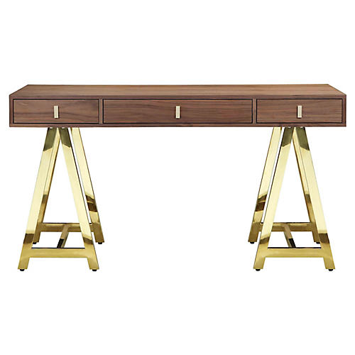 Gold Riley Desk, Walnut