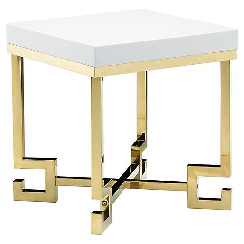 Sophia Side Table, White/Gold