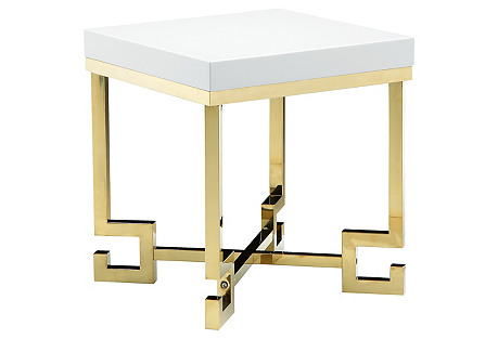 Sophia Side Table, White/Gold