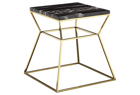 Geo Marble Side Table, Black