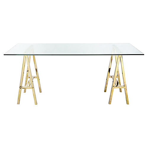 Brady Desk, Polished Gold