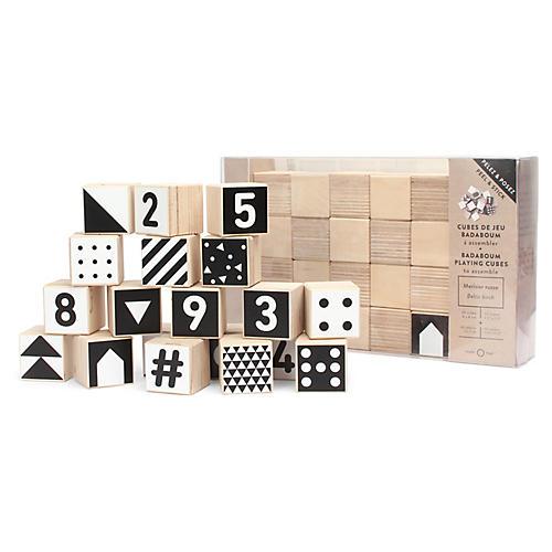 Badaboum Kids' Toy Blocks, Black/White