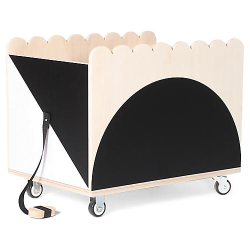 Tchou-Tchou Kids' Storage Bin, Black/White