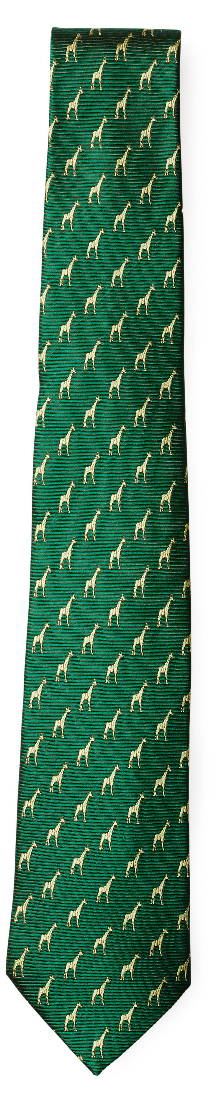 Silk Giraffe Tie, Forest Green
