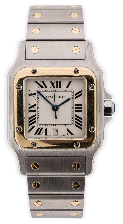 Stainless Steel & Gold Cartier Santos