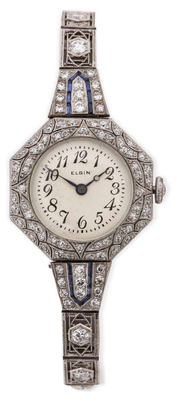 Platinum Elgin Diamond & Sapphire Ladies