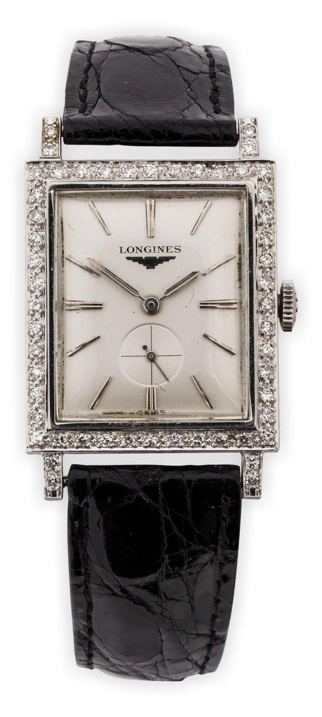 1940s White Gold Longines w/Diamond