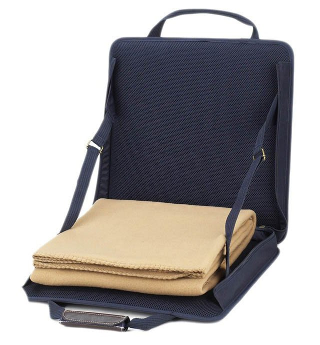Stadium Seat  w/ Tan Blanket, Navy