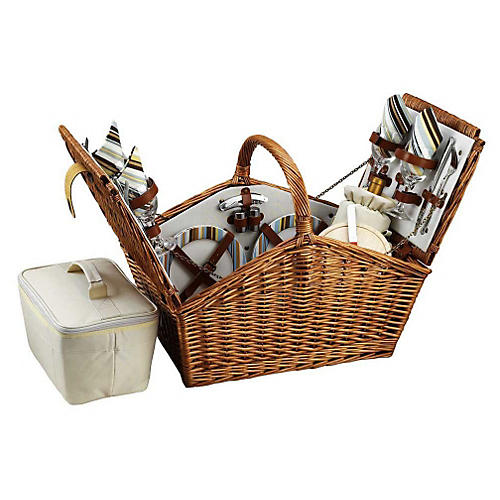 Willow Picnic Basket for 4, Stripes