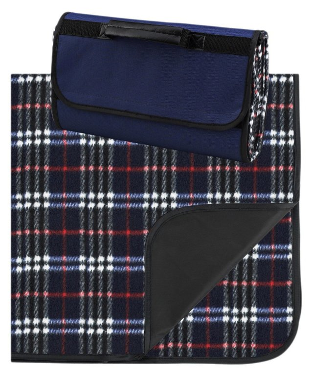 Plaid Fleece Blanket/Carrier, Navy