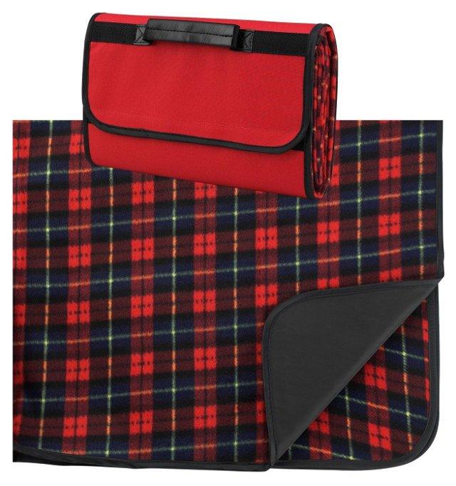 Plaid Fleece Blanket/Carrier, Red