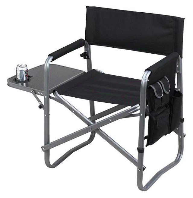 Folding Chair w/ Table, Black