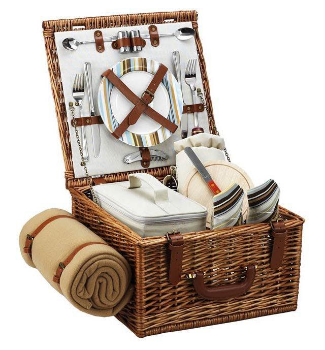 Cheshire Basket & Blanket for 2, Stripes