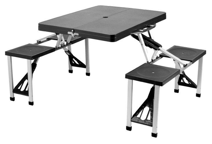 Portable Picnic Table Set, Black