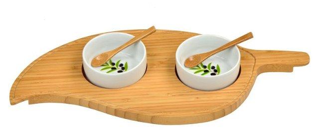 Bowls w/ Leaf Serving Platter, Bamboo