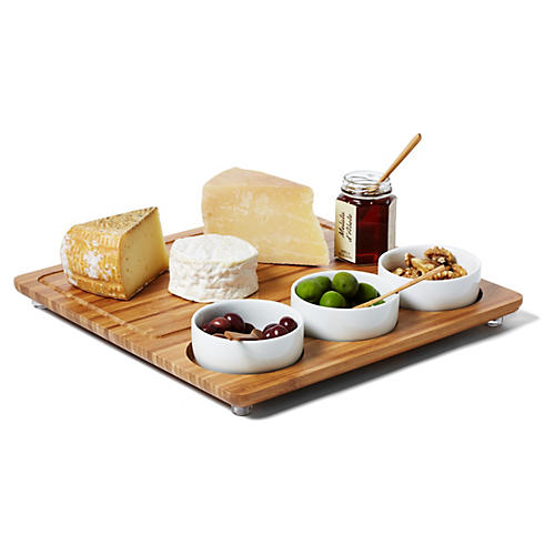 Three-Bowl Cheese Board, Bamboo