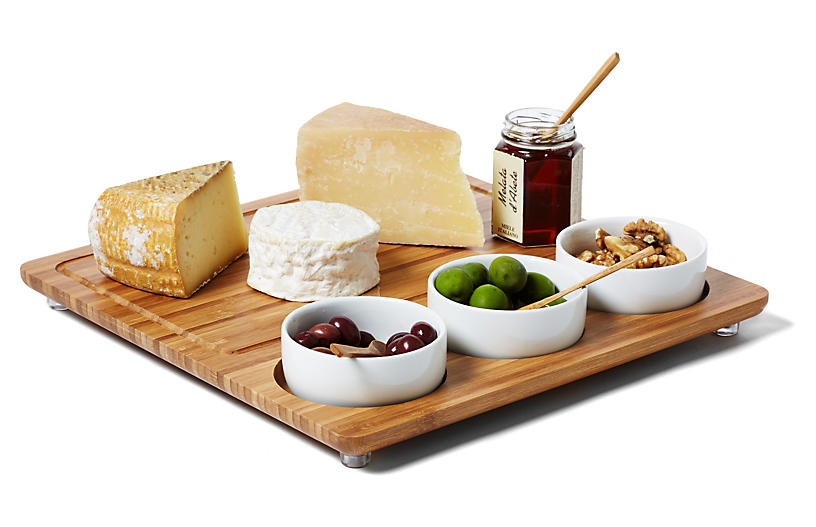 Three-Bowl Cheese Board - Bamboo