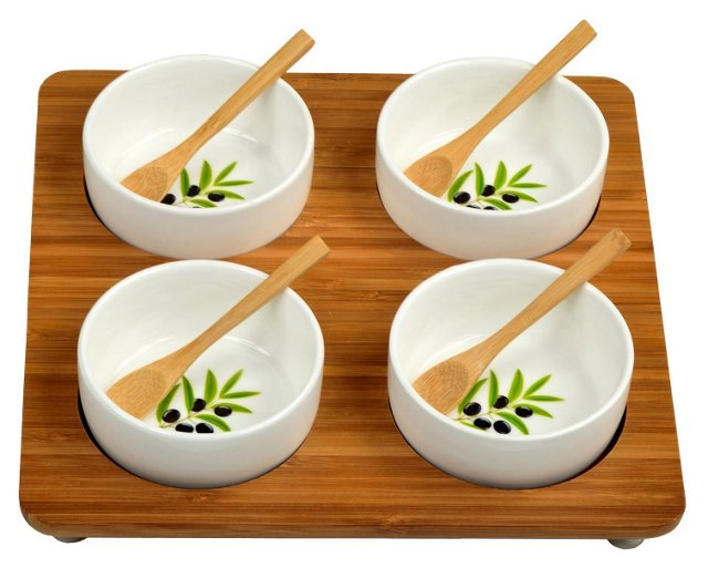5-Pc Bamboo Square Serving Set