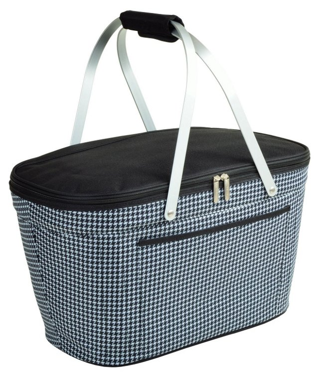 Collapsible Basket Cooler, Houndstooth