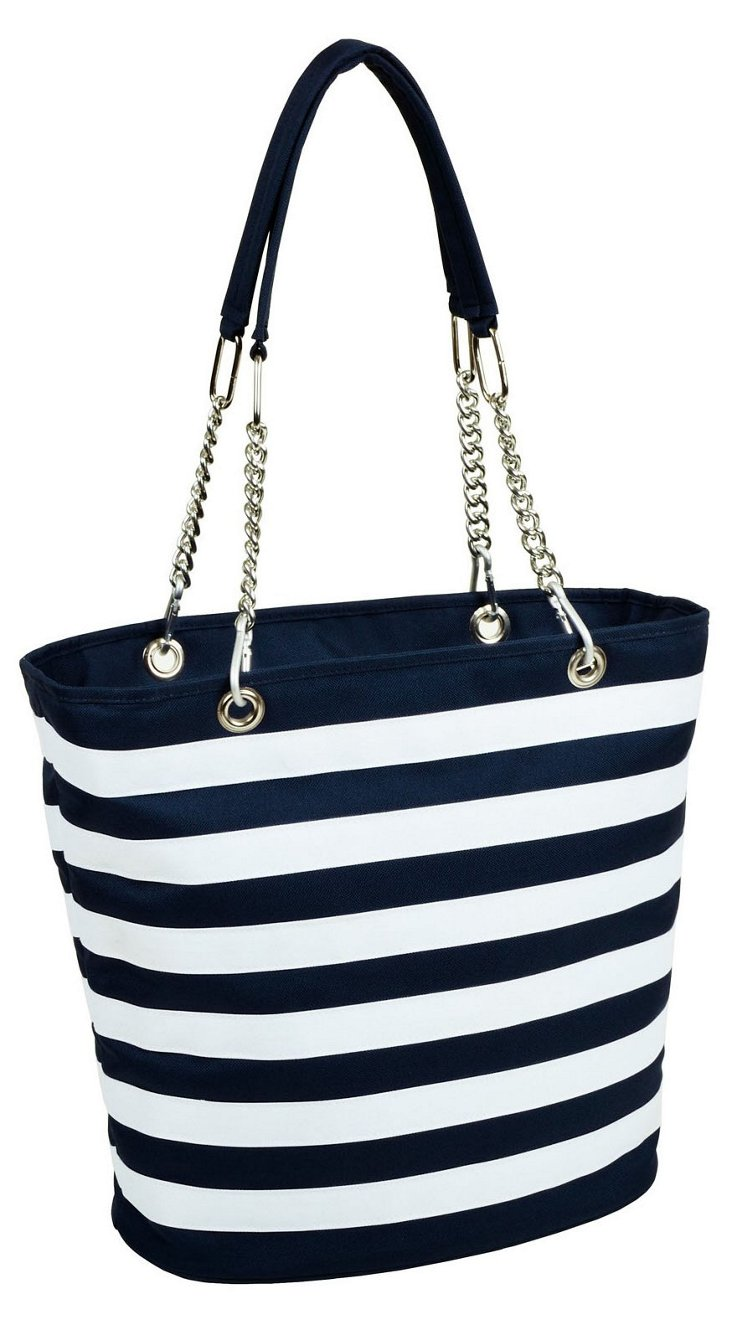 Stripe Fashion Cooler Tote, Navy/White