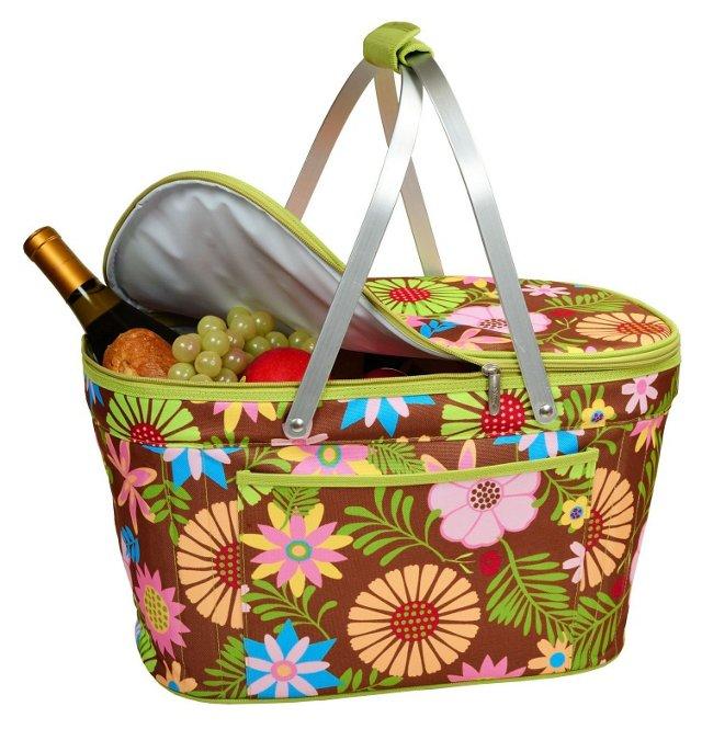 Collapsible Basket Cooler, Floral