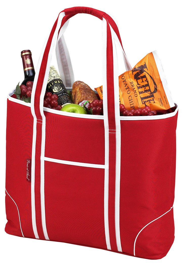 Large Insulated Tote Bag, Red