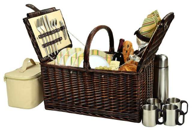 Buckingham Basket for 4 w/ Coffee, Brown