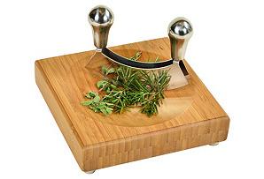 Mincing  Knife & Board Set, Bamboo