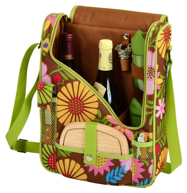 "14"" Pinot Wine & Cheese Cooler, Floral"