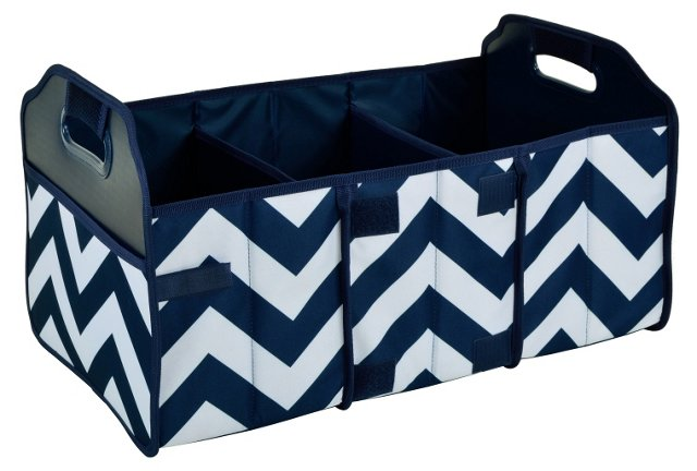 Foldable Trunk Organizer, Navy Chevron