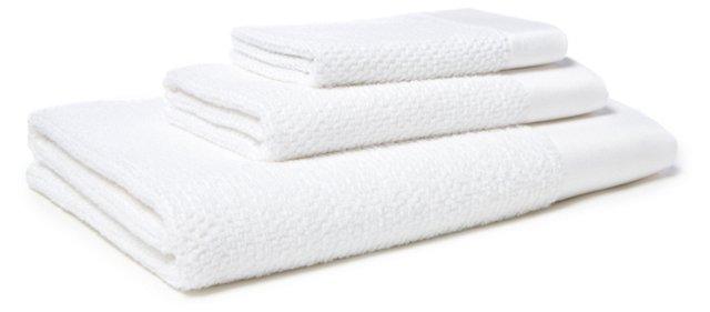 3-Pc Stone Washed Towel Set, White