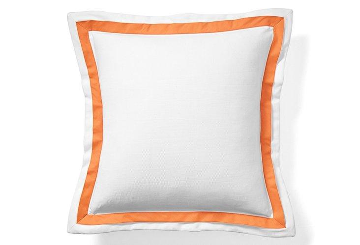 White Pique Euro Pillow, Orange
