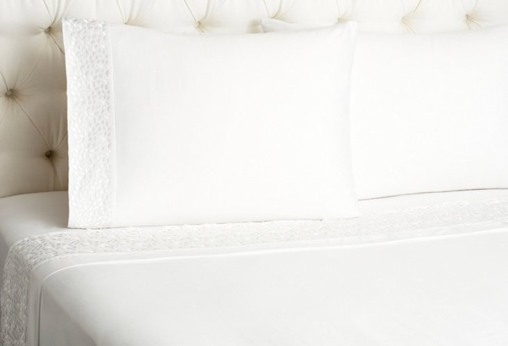 Pearl Embroidered Sheet Set, White