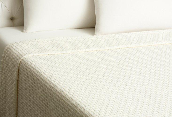 Basket Weave Blanket, Ivory