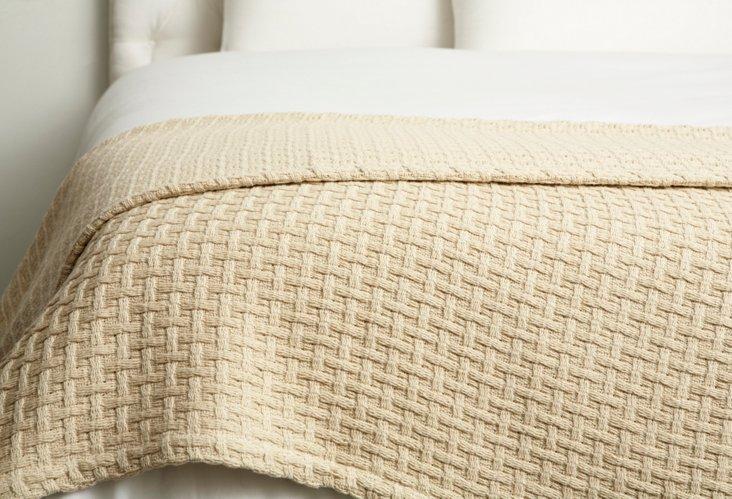 Basket Weave Throw, Linen