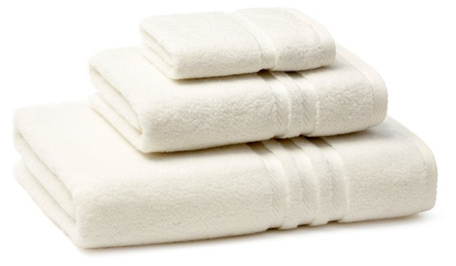 3-Pc Boca Towel Set, Ivory