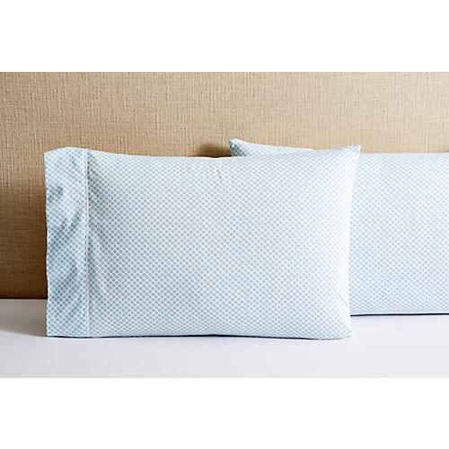 S/2 Emma Pillowcases, Aqua