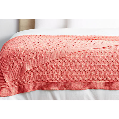 Majorca Cotton Throw, Coral